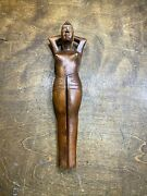 Vintage Hand Carved Wooden Wood Nude Lady Woman Nut Cracker  Vizcarra