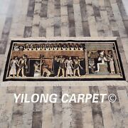 Yilong 4.4and039x1.8and039 Handmade Silk Rug Ancient Egypt Home Carpet Tapestry L113a
