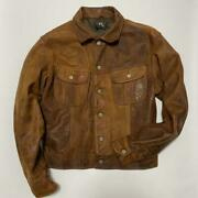 Pole Rrl Leather Trucker Jacket L Size Outer Long Sleeves