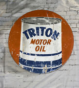 Rare Original Union Gas Royal Triton Gas Oil Double-sided Advertising 28andrdquo Sign