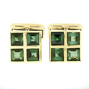 Menand039s Vintage 18k Gold 5.0ctw Grid Square Step Cut Green Tourmaline Cuff Links