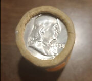 Original Unopened Bank Wrapped Roll Of 20 1958 Franklin Half Dollars Silver