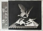 Beautiful Original Pastel Painting Of Republic Of China Butterfly Stamp Signed