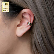 14k Real Solid Gold Extra Wide Bold Thick Minimalist Ear Cuff Ring Conch Helix