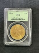1900 20 Gold Liberty Double Eagle Pcgs Ms63 Coin Old Label