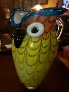 Exquisite Vintage Murano Italy Handmade Art Glass Owl Pitcher9.5 Tall