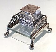 Vintage Antique Blairandcrawford Sterling Silver Footed Crystal Cut Desk Inkwell