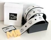 Menand039s Mcm White And Black Reversible Visetos Leather Belt Gold Buckle
