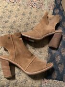 Nwob Uggs Valencia Peep Toe Bootie In Light Brown Suede Size 8
