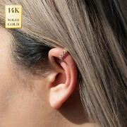 14k Real Solid Gold Cubic Zirconia Crown Ear Cuff Ring No Piercing Cartilage