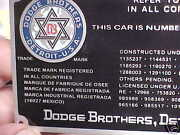 Dodge Brothers Car And Truck Data Plate Color Logo Acid Etched Alum. 1920s - 1930s