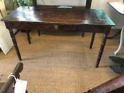 Antique French Grain Painted Pine Writing Desk One Drawer