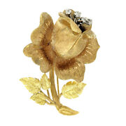 Vintage 18k Rose And Green Gold Florentine Finish Flower And Leaf Diamond Pin Brooch