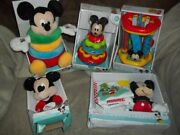 New Huge Lot Disney Baby Mickey Mouse Toys Learning Plush Stacking Rings Rattle