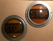 """Vintage Yellow Stop Lights """"pair"""" Lens And Bezels"""