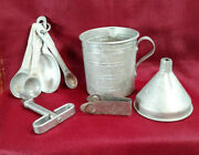 Vintage Aluminum Dry Measuring Cup Spoons Funnel Hand-e-can Farmhouse Country