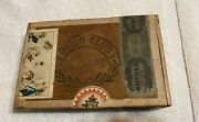 Antique Union Club Cigar Box With Children Smoking Cigars And Celebrating
