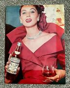 Rare Collectable Large Vintage Advertising Card Ad Hennessy Cognac Lady Picture