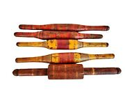 Lot Of 5 Vintage Original Old Hand Carved Lacquer Wooden Chapati Rolling Pin B02