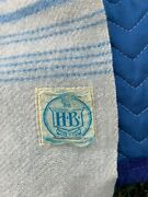 Vintage H.b. Horn Bros Blanket Canadian Made 100 Wool Powder Blue And Cream