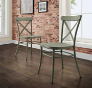 Distressed Dining Chairs Set Of 2 Modern Farmhouse Country Kitchen Green Metal