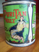 Rare Vintage Tin Can 'puritan Malt' Great Graphics 'dress Blows In Wind' Label