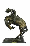 Remington Bronze Sculpture And039and039rattle Snakeand039and039 Signed Statue Cowboy Western Horse A
