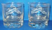 Drambuie Scotch Whisky Cocktail Rocks Glass Pinched Base Etched Design Set/2