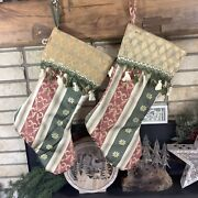 2 Victorian Tapestry Style Christmas Stockings Elegant Fringe Red Green His Hers