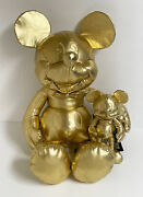 2018 Disney Store Limited 90th Anniversary Gold Mickey Mouse Plush Large And Small