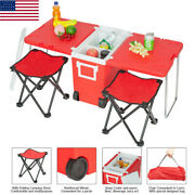 Portable Small Wheeled Rolling Cooler Ice Chest Picnic Camping W/table And2 Chairs
