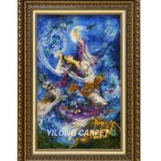 Yilong 1.9and039x3and039 Handknotted Wool Silk Carpet Mystic Pictorial Blue Tapestry Gt003