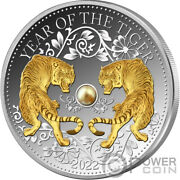 Tiger Freshwater Pearl Chinese Lunar Year 1 Oz Silver Coin 10 Fiji 2022
