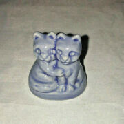 Wade England Whimsies Red Rose Tea Pet Shop Blue Kittens Cat Twins 1 1/2in