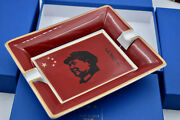 Elie Bleu Porcelaine Ashtray Red Mao By Raynaud Limoges