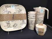 Disney Sketchbook Bamboo Mickey Set Plates Cups Bowls Pitcher 13 Pieces New