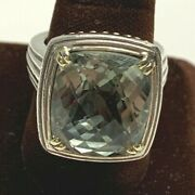 Sterling Silver And 14k Yellow Gold Green Amethyst Charles Krypell Ring Ga1314