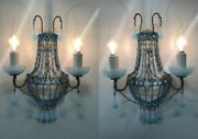 1930 French Empire Gilded Tole Murano Blue Opaline Drops And Beads Sconces