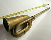 Early Antique Automobile Brass Horn 21 With Long End.