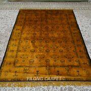 Yilong 5and039x7and039 Gold Antique Handmade Silk Carpet Eco Friendly Oriental Rug 161ab