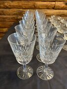 Signed Vintage Waterford 6 7/8 Lismore Water Goblet Glass Crystal Lot Of 16