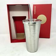 Nib Starbucks 2014 Silver Stainless Steel 16 Oz Cold Cup Metal Straw And Red Box