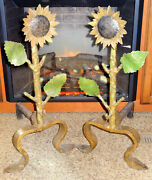 Rare Large Antique Hand Forged Cast Iron Sunflower Andirons Firedogs 20 Tall