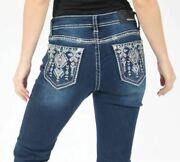 Grace In La Jeans Women's Western Burgundy Aztec Embroidered Bootcut Jeans