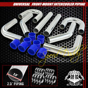 Universal 8pc 2.5 Aluminum Fmic Intercooler Piping Silicone Hose+t-clamp Silver