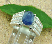 4.27 Ct 14k Solid White Gold Ladies Natural Oval Blue Sapphire And Diamond Ring