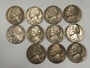Complete Set Of All 11 Wwii Silver War Nickels 1942 To 1945-s Grading Good/vg