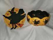 Certified International Susan Winget Halloween Bowl And Witch Platter Lot Guc
