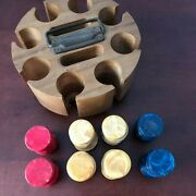 Vintage Royal Bakelite Catalin Poker 194 Chips Wood Holder Caddy Red Blue Yellow