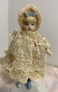 """Antique Rare Small 3.5"""" China Doll With Rare Bonnet Head Hertwig Dressed. As Is"""